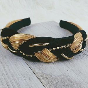 Vtg 90s Velvet Padded Headband Black/Gold